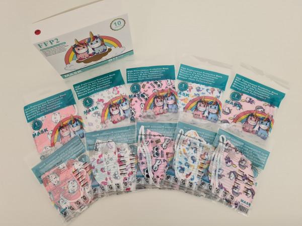 FFP2 Kindermasken / 10 Stück, verschiedene Motive für Mädchen