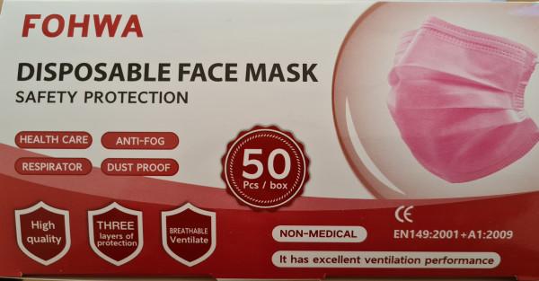 50 St. Einmalmasken in Rosa