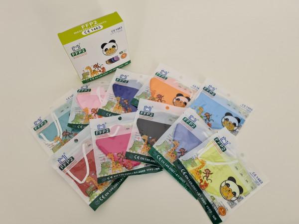 FFP2 Kinderschutzmasken / 10 Stück, verschiedene Farben für Jungen und Mädchen