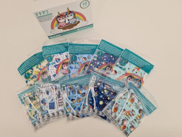FFP2 Kinderschutzmasken / 10 Stück, verschiedene Motive für Jungen
