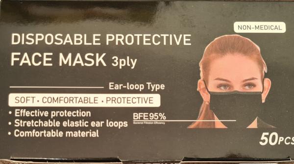 50 St. Einmalmasken in schwarz